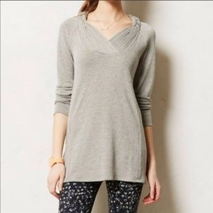 One September | Gray Braided Neck Tunic Sweater